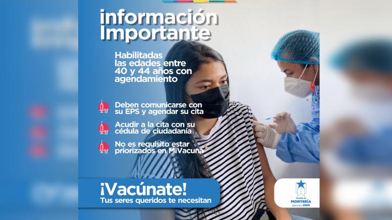 Personas entre 40 y 44 años podrán vacunarse a través de agendamiento con su EPS - Noticias de Colombia